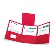 Tri-Fold Folder W/3 Pockets, Holds 150 Letter-Size Sheets, Red
