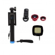 Combo of Locust Aux Selfie Stick + 3 In 1 Clip Mobile Camera Lens Kit + LED Selfie Night Flash Light