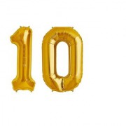 De-Ultimate Solid Golden Color 2 Digit Number Ten (10) 3d Foil Balloon for Birthday Celebration Anniversary Parties