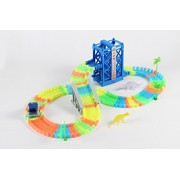 Glow-in-the-Dark Flexible Twisted Track+ LED Light Up Car, Dinosaurs, Lifter, Trees & Gate for Boys and Girls 3 Year Old and Up