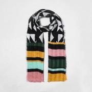 River Island Zwarte sjaal met textuur en geometrische strepenprint Dames