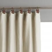 Am.pm Cortinado em linho lavado com forro, passadeiras em pele, PrivateNatural- 140 x 350 cm