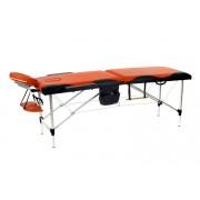 Łóżko do masażu 2 segmentowe aluminiowe czarno - pomarańczowe