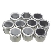 10pcs Empty Round Aluminum Box 60ml Jar Tin Nail Art Decoration Gem Container Gift Boxes