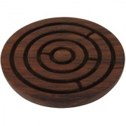 Craft Art India Brown Handcrafted Wooden Labyrinth Board Indoor Game Round (Diameter - 4 Inches) Cai-Hd-0032