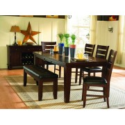 6 pc ameillia collection dark oak finish wood dining table set with vinyl padded seats and butterfly leaf
