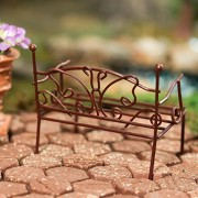 Pair of Rustic Metal Miniature Garden Benches with Decorative Scroll Butterfly Design for Fairy Gardens, Crafting and Embellishing