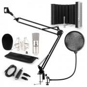 Auna CM001S set de micrófono V5 micrófono condensador adaptador USB brazo de micrófono protección anti pop escudo (60002027-V5KO)