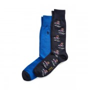 Polo Ralph Lauren Allover-Pony Dress Socks - Classic Wine/ Cruise Navy - Size: UK 5-8