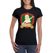 Bellatio Decorations Sexy foute kerstmis shirt zwart voor dames Touch my jingle bells L - kerst t-shirts