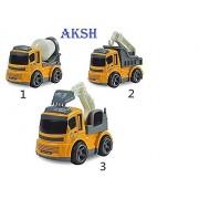 AKSH Friction Non-Toxic High Quality JCB Construction Vehicle Truck Toys (Set of 3) 12 cm - Yellow (JCB Set)