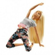 Papusa Barbie on the move Blonda flower fitness complet mobila cu 22 articulatii