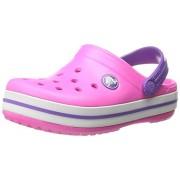 Crocs Kids Unisex Crocband Kids Neon Magenta and Neon Purple Rubber Clogs and Mules - C8C9