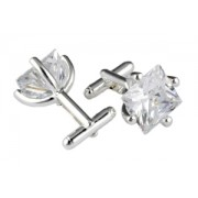 Mousie Bean Crystal Cufflinks CZ Square 146 Crystal Clear