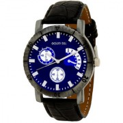 Golden Bell Men'S Black & Blue Round Genuine Leather Strap Wrist Watch (436Gb)