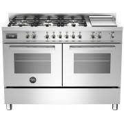 Bertazzoni PRO1206 Gasspis 120 cm, 2 ugnar, 6 brännare + elektrisk tepanyaki, rostfri