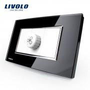 Intrerupator cu variator pentru ventilator Livolo cu rama din sticla - standard italian, negru
