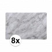 Merkloos 8x Kunststof placemat marmer grijs 43 x 28 cm