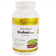 Brahmi 500mg Pure Extract 60 Veg Capsules By Natures Velvet