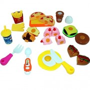 Babytintin™ Play Food Set for Kids Kitchen Food Toys Fun Fast Doll Food Assortment Plastic Pretend Food Playset for Children Girls Boys Kids Toddlers Educational Early Age Basic Skills Development