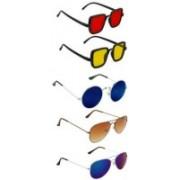SO SHADES OF STYLE Aviator, Rectangular, Round Sunglasses(Red, Yellow, Blue, Brown)