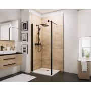 Schulte Home Paroi de douche fixe à l'italienne Walk In avec retour pivotant 100 cm, transparent, anticalcaire, style industriel, profilé noir