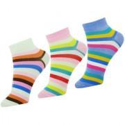 Neska Moda Premium Women 3 Pairs Cotton Ankle Length Socks Multicolor S672