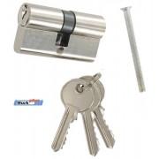 Bejárati ajtóhoz hengerzárbetét 3 kulcsos 60mm nikkelezett Kód:078112