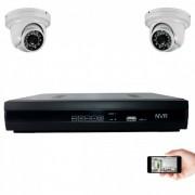 Kit vidéosurveillance IP 2 dômes 1mp 20m