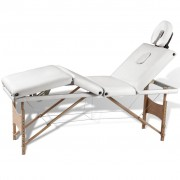 vidaXL Масажна кушетка с 4 зони, дървена рамка, кремаво-бяла