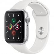 Ceas Smartwatch Apple Watch Series 5, GPS + Cellular, 44mm Silver Aluminium Case, White Sport Band