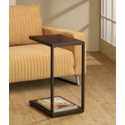 Modern styling dark brown faux wood look top and dark brown finish frame chair side end table