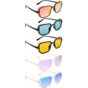 NuVew Wayfarer, Shield Sunglasses(Red, Golden, Green, Yellow, Violet, Blue)