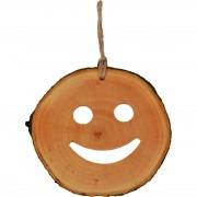 Decoratiune de craciun - Smiley din felie de lemn New Way Decor