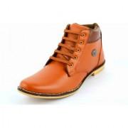 Factory London Men Tan Lace-up Boots