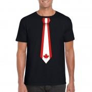 Bellatio Decorations Shirt met Canada stropdas zwart heren XL - Feestshirts