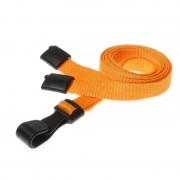 Laccetti porta badge arancione con moschettone in plastica 100 pz