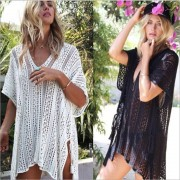 Shermie Sexy Crochet beach V Neck Cover Up Split Swimwear Summer Outings Swimsuit See-through Cover Ups Women Beach Wear Dress