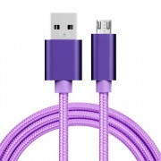 MicroUSB kábel - adatkábel - fonott dizájn - 1m hosszú - LILA
