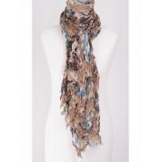 Crushed beige sjaal met bruin/ turquoise bloemenprint