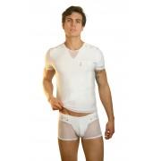 Lookme OPEN SPIRIT Sheer Rivet Short Sleeved T Shirt White 32-81