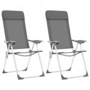 vidaXL Сгъваеми къмпинг столове, 2 бр, сиви, алуминий