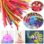 Long Latex Balloons for DIY, 100 Count, Assorted Boys Girls Birthday Party Balloon