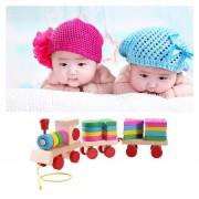 Tren De Madera Forma Bloques De Construcción De Juguete Baby Early Learning Capacitación Toy