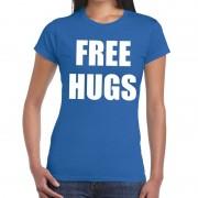 Bellatio Decorations Free hugs tekst t-shirt blauw dames