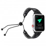 Stylish Stainless Steel Watchband Bracelet with Flower Decor for Apple Watch Series 5 4 40mm, Series 3 / 2 / 1 38mm - Black
