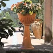 Ghiveci cu picior inalt, Alba, diametru 43 cm, maro teracota