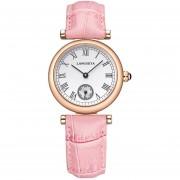 Oanda LANGGEYA De Alta Gama Personalizados Números Romanos Sencillos Relojes De Dos Polos Ocasionales Mujer Semi-cuero De Cuarzo (rosa)