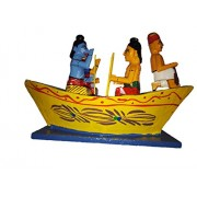 AdiChai Desi Toys - Ram, Laxman and Sita Sitting in Boat and a Boatman Riding it- Handcrafted Traditional Wooden Toys Kondapalli