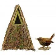 Merkloos Vogelhuis/nestkast groene takjes en mos 24 cm